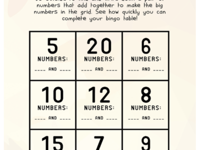 Number Bonds Active Bingo: Ages 5 - 8