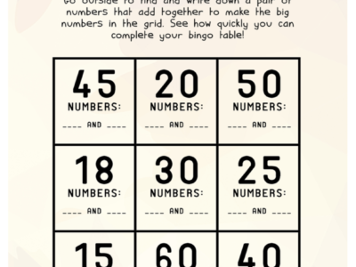 Number Bonds: Active Bingo (Ages 9-11)
