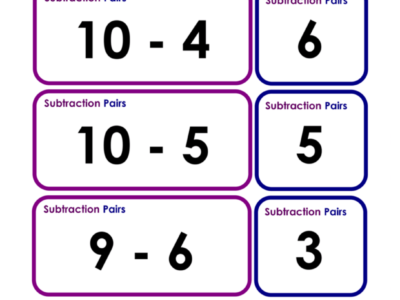 Subtraction: Pair Cards